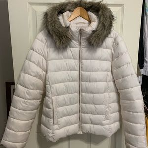 LOFT, puffer jacket with faux fur removable hood.